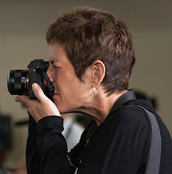 Oct. 04, 2016 - Haverford, PA, U.S. -  Hillary Clinton's photographer, BARBARA KINNEY, makes photos from the press riser during a conversation with Delaware County families at the Haverford Community Recreation & Community Center.(Credit Image: © Brian Cahn via ZUMA Wire)