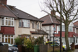 A police vehicle is parked in the drive of the house on Bacon Lane in Edgeware, London, where two men one aged 38 and 42 died of suspected carbon monoxide poisoning. Five other people - Two men, a woman, a child and a baby were hospitalised. Some of the house's windows are open suggesting that efforts have been made to circulate fresh air in the building. London, April 09 2018.