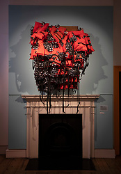 © Licensed to London News Pictures. 11/06/2019. London, UK. Artist Cosmo Whyte's 'The Enigma of Arrival in 4 Sections. Section 1: Guess Who is Coming to Dinner,<br /> 2017' is shown at the 'Get Up, Stand Up Now: Generations of Black Creative Pioneers' exhibition at Somerset House, London. This major new exhibition celebrates the past 50 years of Black creativity in Britain and beyond. Beginning with the radical Black filmmaker Horace Ové and his dynamic circle of Windrush generation creative peers and extending to today's brilliant young Black talent globally, a group of around 100 interdisciplinary artists are showcasing their work together for the first time, exploring Black experience and influence, from the post-war era to the present day. The exhibition opens on June 12, 2019 and runs until September 15, 2019.  Photo credit: Peter Macdiarmid/LNP