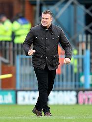 Bury Manager David Flitcroft celebrates victory at full time - Mandatory byline: Matt McNulty/JMP - 06/12/2015 - Football - Spotland Stadium - Rochdale, England - Rochdale v Bury - FA Cup