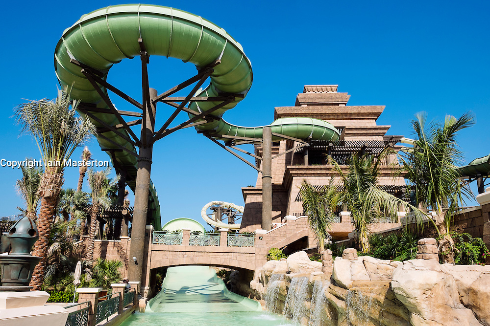 The new Tower of Poseidon flume rides at Aquaventure water park at the Atlantis Hotel on The Palm island Dubai