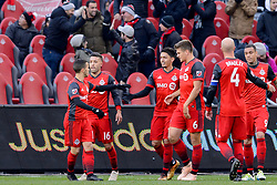 October 28, 2018 - Toronto, ON, U.S. - TORONTO, ON - OCTOBER 28: Marco Delgado (18) of Toronto FC celebrates his goal with Sebastian Giovinco (10) and other Toronto FC team mates during the first half of the MLS Decision Day match between Toronto FC and Atlanta United FC on October 28, 2018, at BMO Field in Toronto, ON, Canada. (Photograph by Julian Avram/Icon Sportswire) (Credit Image: © Julian Avram/Icon SMI via ZUMA Press)