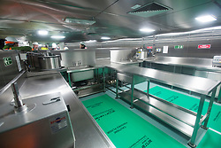 Kitchens for the Junior rating dining hall. Tour of the Queen Elizabeth Aircraft Carrier under construction at the Babcock site in Rosyth dockyard.