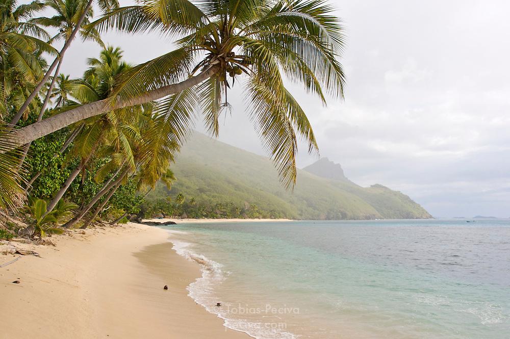 Rain approaching a deserted beach on Waya Island. Waya is part of the Yasawa Islands, on the western side of Fiji.