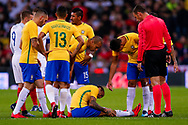 Brazil Paris Saint Germain PSG defender Dani Alves (2) looks injured during the International Friendly match between England and Brazil at Wembley Stadium, London, England on 14 November 2017. Photo by Simon Davies.