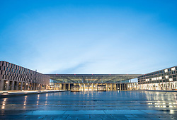 Evening view of new unfinished Berlin Brandenburg International Willy Brandt Airport Germany