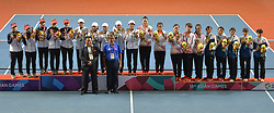 PALEMBANG, Sept. 1, 2018  Medalists attend the awarding ceremony for the soft tennis women's team event at the 18th Asian Games in Palembang, Indonesia on Sept. 1, 2018. (Credit Image: © Veri Sanovri/Xinhua via ZUMA Wire)