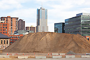 A giant pile of dirt at the Union Station construction site in downtown Denver, Colorado.