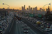 Heavy rush hour traffic on the I-5 freeway in Seattle, Washington.
