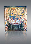 4th Century AD Roman Opus Sectile Mosaic depicting nymphs from the basilica de Giunio Basso .  Museo Nazionale Romano ( National Roman Museum), Rome, Italy. .<br /> <br /> If you prefer to buy from our ALAMY PHOTO LIBRARY  Collection visit : https://www.alamy.com/portfolio/paul-williams-funkystock/national-roman-museum-rome-mosaic.html <br /> <br /> Visit our ROMAN ART & HISTORIC SITES PHOTO COLLECTIONS for more photos to download or buy as wall art prints https://funkystock.photoshelter.com/gallery-collection/The-Romans-Art-Artefacts-Antiquities-Historic-Sites-Pictures-Images/C0000r2uLJJo9_s0