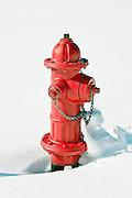 Red fire hydrant in sno.