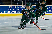 KELOWNA, BC - FEBRUARY 15:  Gianni Fairbrother #24 of the Everett Silvertips warms up on the ice against the Kelowna Rockets at Prospera Place on February 15, 2019 in Kelowna, Canada. (Photo by Marissa Baecker/Getty Images)
