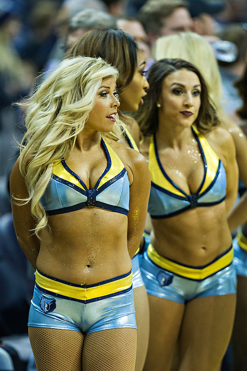 MEMPHIS, TN - DECEMBER 10:  Cheerleaders of the Memphis Grizzlies perform during a game against the Golden State Warriors at the FedExForum on December 10, 2016 in Memphis, Tennessee.  The Grizzlies defeated the Warriors 110-89.  NOTE TO USER: User expressly acknowledges and agrees that, by downloading and or using this photograph, User is consenting to the terms and conditions of the Getty Images License Agreement.  (Photo by Wesley Hitt/Getty Images) *** Local Caption ***