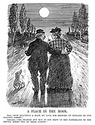 """A Place in the Moon. Hans. """"How beautiful a moon, my love, for showing up England to our gallant airmen!"""" Gretchen. """"Yes, dearest, but may it not show up the Fatherland to the brutal enemy one of these nights?"""" (WW1 cartoon showing an old German couple and their dog taking a walk in the evening during WW1)"""