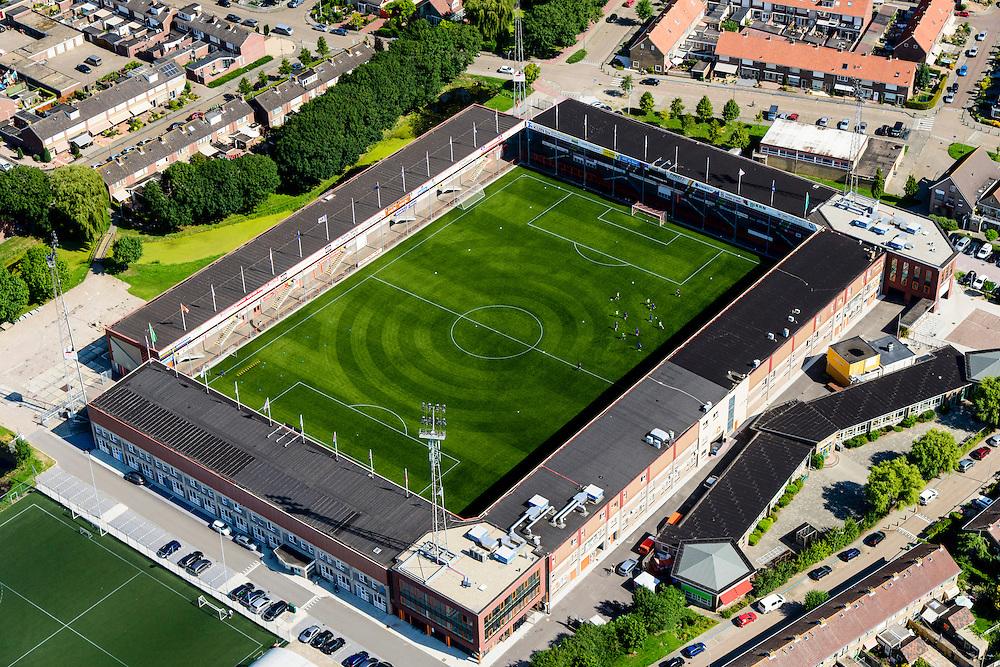 Nederland, Noord-Holland, Volendam, 05-08-2014;  stadion FC Volendam; Kras Stadion aan de Sportlaan.<br /> Soccer stadium.<br /> luchtfoto (toeslag op standard tarieven);<br /> aerial photo (additional fee required);<br /> copyright foto/photo Siebe Swart