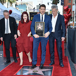 Michael Buble Hollywood Walk of Fame Star Ceremony held in front of W Hotel on November 16, 2018 in Hollywood, CA. © LuMarPhoto/AFF-USA.com. 16 Nov 2018 Pictured: Tom Corson, Priscilla Presley, Michael Buble, David Foster. Photo credit: LuMarPhoto/AFF-USA.com / MEGA TheMegaAgency.com +1 888 505 6342