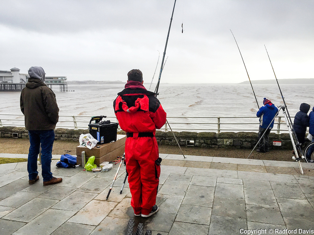 Fishermen in Weston-super-Mare, England