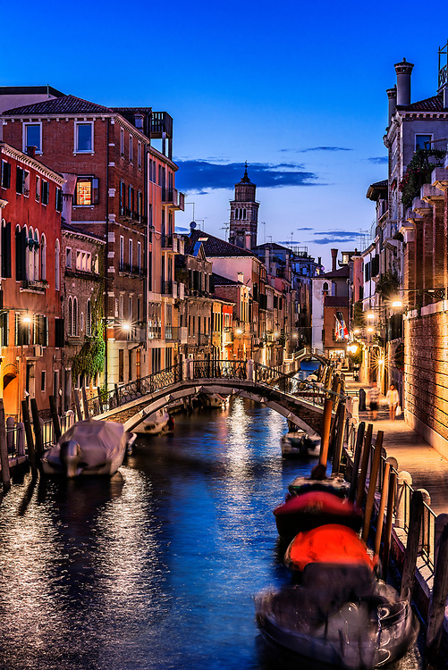 Charming canal and Venetian architecture at dusk, Venice, Italy