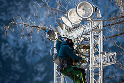 Workers and lights at preparation of Planica Hill 2 weeks before FIS Ski Flying World Championships 2020, on November 25, 2020 in Planica, Slovenia. Photo by Matic Klansek Velej / Sportida