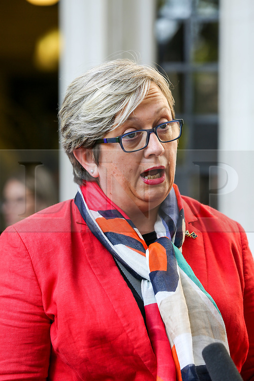 © Licensed to London News Pictures. 17/09/2019. London, UK. Joanna Cherry QC MP - SNP MP for Edinburgh South West speaks with a reporter outside UK Supreme Court in London as the court begins a three day appeal hearing in the multiple legal challenges against the Prime Minister Boris Johnson's decision to prorogue Parliament ahead of a Queen's speech on 14 October. Eleven instead of the usual nine Supreme Court justices will hear the politically charged claim that Boris Johnson acted unlawfully in advising the Queen to suspend parliament for five weeks in order to stifle debate over the Brexit crisis.It is the first time the Supreme Court has been summoned for an emergency hearing outside legal term time.Lady Hale, the first female president of the court who retires next January, will preside. Photo credit: Dinendra Haria/LNP