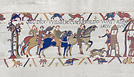 Bayeux Tapestry scene 14: Harold arives at Duke William of Normandy Castle. BYX14 .<br /> <br /> If you prefer you can also buy from our ALAMY PHOTO LIBRARY  Collection visit : https://www.alamy.com/portfolio/paul-williams-funkystock/bayeux-tapestry-medieval-art.html  if you know the scene number you want enter BXY followed bt the scene no into the SEARCH WITHIN GALLERY box  i.e BYX 22 for scene 22)<br /> <br />  Visit our MEDIEVAL ART PHOTO COLLECTIONS for more   photos  to download or buy as prints https://funkystock.photoshelter.com/gallery-collection/Medieval-Middle-Ages-Art-Artefacts-Antiquities-Pictures-Images-of/C0000YpKXiAHnG2k