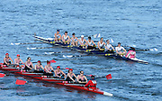 London, United Kingdom. No. 86. Kingston RC. overtaken by No.87 Reading RC.  from Barnes Rail Bridge. 2014 Women's Head of the River Race. Chiswick to Putney, River Thames.  Saturday  15/03/2014    [Mandatory Credit; Peter Spurrier/Intersport-images]