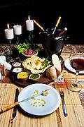 Brumadinho_MG, Brasil.<br /> <br /> Fondue ao molho de vinho, servido no restaurante da Pousada Estalagem do Mirante, no bairro Retiro do Chale em Brumadinho, Minas Gerais.<br /> <br /> Fondue the wine sauce, served in the restaurant of the Estalagem do Mirante lodging in Retiro do Chale neighborhood in Brumadinho, Minas Gerais.<br /> <br /> Foto: RODRIGO LIMA / NITRO