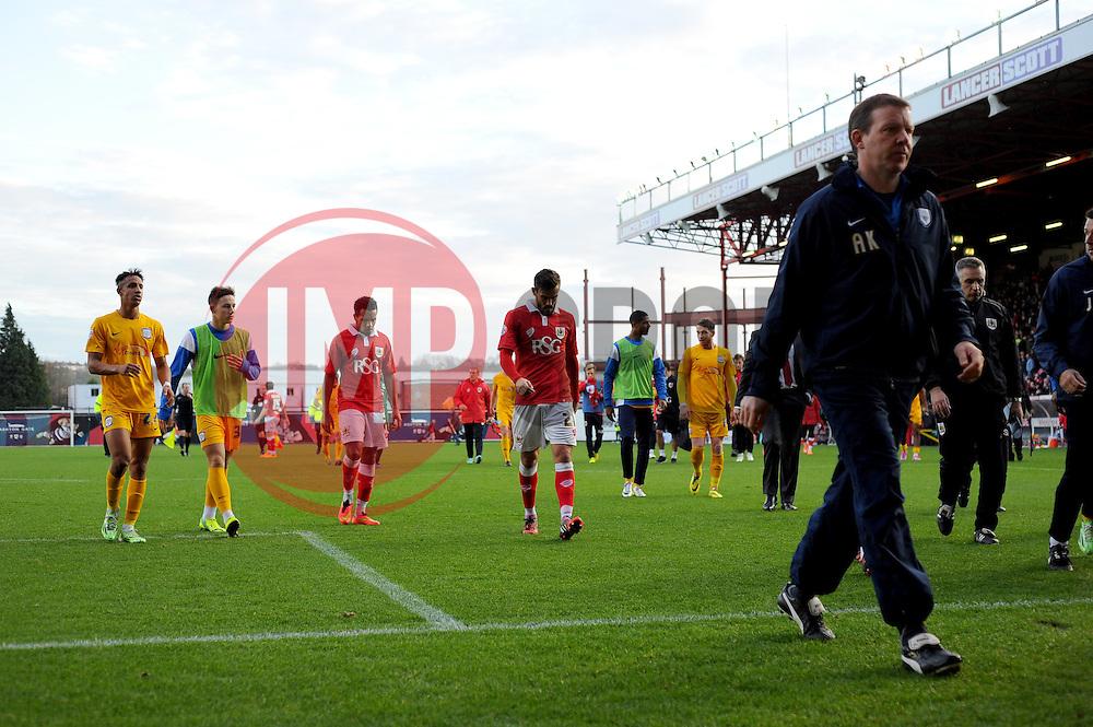 Bristol City's Marlon Pack and Bristol City's Korey Smith show a dejected figures at half-time. - Photo mandatory by-line: Nizaam Jones - Mobile: 07583 3878221 - 22/11/2014 - Sport - Football - Bristol - Ashton Gate - Bristol City v Preston North End - Sport