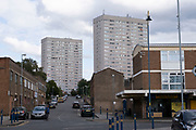 Social housing tower blocks in Highgate, on 3rd August 2020 in Birmingham, United Kingdom. Following the Big City Plan of February 2008, Highgate is now a district of Birmingham City Centre, yet is a very poor area of housing estates, lacking in investment.