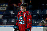 KELOWNA, CANADA - MARCH 16:  Nolan Foote #29 of the Kelowna Rockets skates in warm-ups prior to the game against Vancouver Giants on March 16, 2019 at Prospera Place in Kelowna, British Columbia, Canada.  (Photo by Marissa Baecker/Shoot the Breeze)