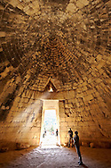 """Interior of the Treasury of Atreus is an impressive """"tholos"""" beehive shaped tomb on the Panagitsa Hill at Mycenae. Mycenae UNESCO World Heritage  Archaeological Site, Peloponnese, Greece . <br /> <br /> Visit our MYCENAEN ART PHOTO COLLECTIONS for more photos to download  as wall art prints https://funkystock.photoshelter.com/gallery-collection/Pictures-Images-of-Ancient-Mycenaean-Art-Artefacts-Archaeology-Sites/C0000xRC5WLQcbhQ<br /> .<br /> <br /> Visit our GREEK HISTORIC PLACES PHOTO COLLECTIONS for more photos to download or buy as wall art prints https://funkystock.photoshelter.com/gallery-collection/Pictures-Images-of-Greece-Photos-of-Greek-Historic-Landmark-Sites/C0000w6e8OkknEb8"""