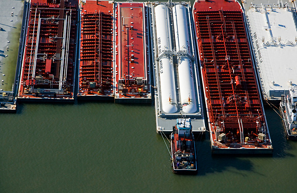 Aerial view of barges docked Port of Houston