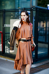 Street style, model Teddy Quinlivan after Chloe spring summer 2019 ready-to-wear show, held at Maison de la Radio, in Paris, France, on September 27th, 2018. Photo by Marie-Paola Bertrand-Hillion/ABACAPRESS.COM