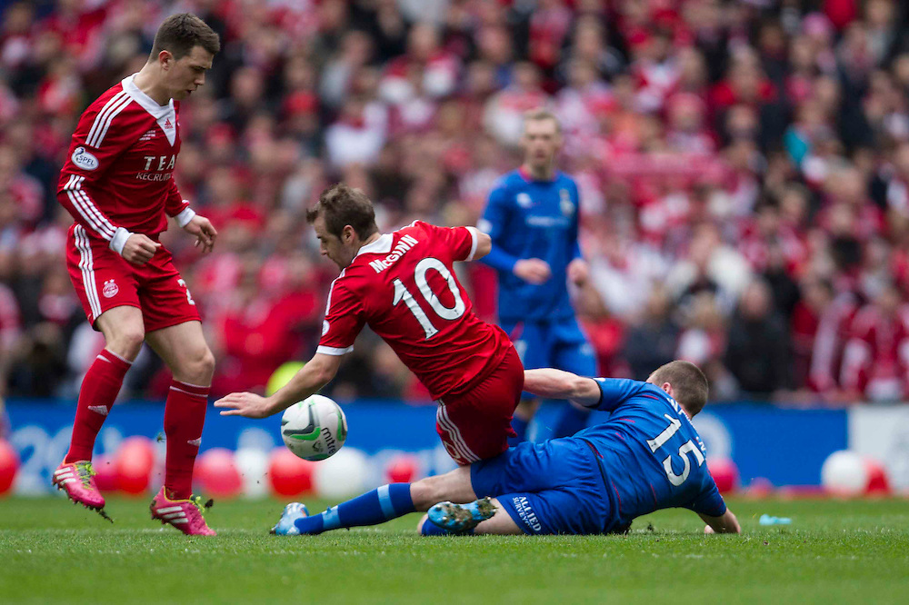 Scottish League Cup Final Aberdeen V Inverness CT at Parkhead on Sunday, 16th of March 2014, Aberdeen Scotland.<br /> Pictured: Niall McGinn and Marley Watkins<br /> (Photo Ross Johnston/Newsline Scotland)