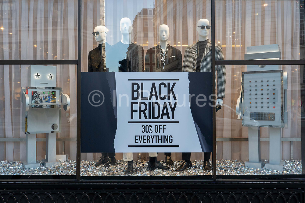 A Black Friday sign on Regent Street in Londons West End on the 29th November 2019 in central London in the United Kingdom. Black Friday is a shopping event that originated from the US where retailers cut prices on the day after the Thanksgiving holiday.