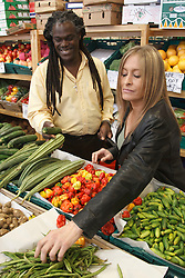 Couple shopping for fruit and vegetables. Cleared for Mental Health issues.