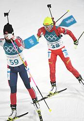 PYEONGCHANG, Feb. 12, 2018  China's Zhang Yan (R) competes during women's 10km pursuit event of biathlon at the 2018 PyeongChang Winter Olympic Games at Alpensia Biathlon Centre in PyeongChang, South Korea, on Feb. 12, 2018. (Credit Image: © Wang Haofei/Xinhua via ZUMA Wire)