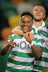 September 20, 2018 - Na - Lisbon, 20/09/2018 - Europa League 2018/2019: Sporting vs Qarabag FK The Sporting Clube de Portugal (PRT) received this evening at the Alvalade XXI stadium, the Qarabag FK (AZE) E) of the UEFA Europa League 2018/2019 group stage. Jovane Cabral celebrates 2-0 with Stefan Ristovski  (Credit Image: © Atlantico Press via ZUMA Wire)