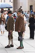 Austria, Salzburg, two men in typical dress