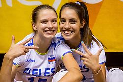 23-08-2017 NED: World Qualifications Greece - Slovenia, Rotterdam<br /> SloveniÎ wint met 3-0 / Ela Pintar #15 of Slovenia, Sara Dukic #10 of Slovenia<br /> Photo by Ronald Hoogendoorn / Sportida