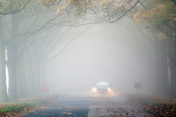 © Licensed to London News Pictures. 02/11/2015. Leeds, UK. Drivers struggle through the fog at Temple Newsam park in Leeds. The Yorkshire region is expected to remain fog covered for the rest of the day reducing visibility down to 100 metres or less in some areas. Photo credit: Andrew McCaren/LNP