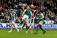 Ryan Porteous of Hibernian FC clears with another header during the Ladbrokes Scottish Premiership match between St Mirren and Hibernian at the Simple Digital Arena, Paisley, Scotland on 29th September 2018.