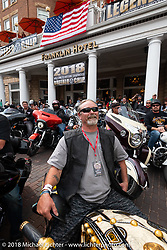 The annual Legends Ride before leaving Deadwood for the Buffalo Chip during the 78th annual Sturgis Motorcycle Rally. Sturgis, SD. USA. Monday August 6, 2018. Photography ©2018 Michael Lichter.