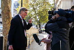 © Licensed to London News Pictures. 18/10/2019. London, UK. BILL CASH MP for Stone speaking with the media outside Downing Street for talks with the Prime Minister BORIS JOHNSON before the crunch Brexit debate and vote on Saturday 19 Oct 2019.  Photo credit: Dinendra Haria/LNP
