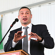 CANASTOTA, NY - JUNE 10:  Inductee Vitali Klitschko speaks during the 2018 induction ceremony at the International Boxing Hall of Fame for the Weekend of Champions event on June 10, 2018 in Canastota, New York. (Photo by Alex Menendez/Getty Images) *** Local Caption *** Vitali Klitschko