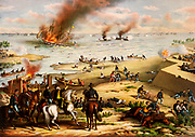 Battle of the Monitor and Merrimack, also called Battle of Hampton Roads, (March 9, 1862), in the American Civil War, naval engagement at Hampton Roads, Virginia, a harbour at the mouth of the James River, notable as history's first duel between ironclad warships and the beginning of a new era of naval warfare. by Kurz and Allison