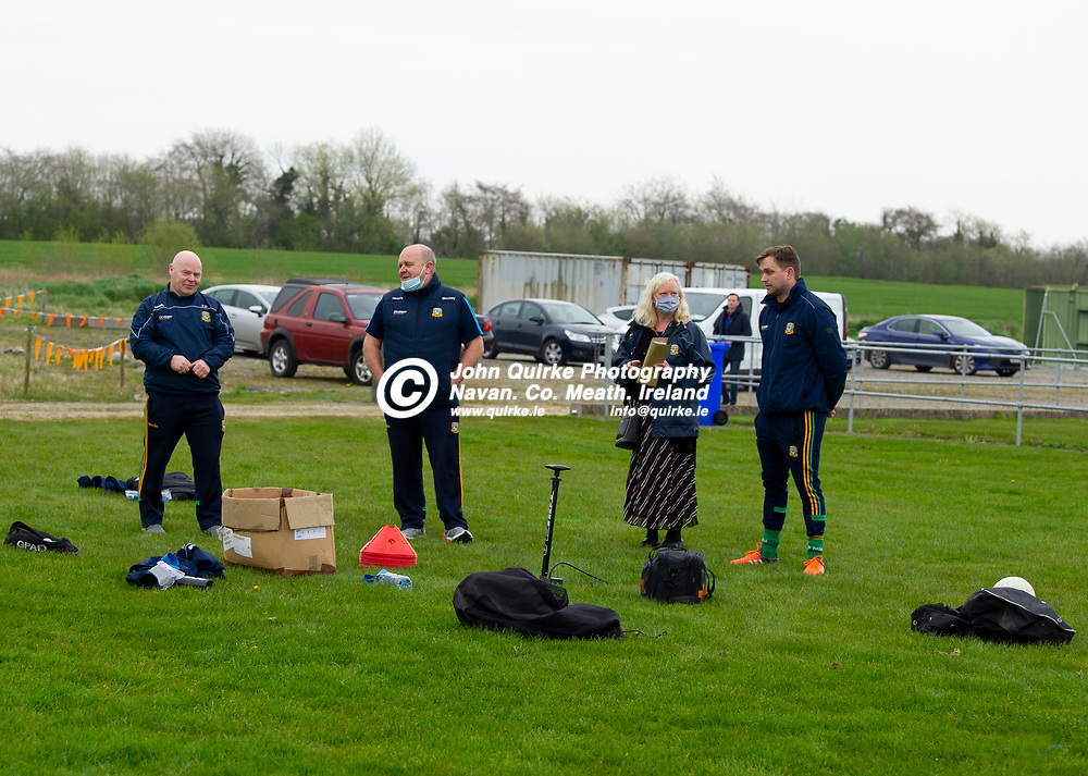 19-04-21. Meath Senior Football players training at Meath GAA Centre of Excellence, Dunganny.<br />L to R: Paddy Doyle, Mocky Regan, Mairead Delaney and Dr. Dultach MacColgain.<br />Photo: John Quirke / www.quirke.ie<br />©John Quirke Photography, 16 Proudstown Road, Navan. Co. Meath. (info@quirke.ie / 046-9028461 / 087-2579454).