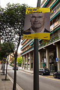 "Election poster in Sant Cugat del Valles, Barcelona for local resident and Senate Candidate Raul Romeva, currently in pre-trial detention for ""rebellion"" for his part in the October 1st 2017 Catalan independence referendum for Senate candidate for General Election, which takes place Spain, 28 April 2019."