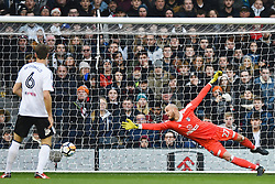 January 6, 2018 - Fulham, England, United Kingdom - Fulham goalkeeper David Button dives for the save during the FA Cup 3rd Round match between Fulham against Southampton  at Craven Cottage Stadium, London England on 06 Jan 2018. (Credit Image: © Kieran Galvin/NurPhoto via ZUMA Press)