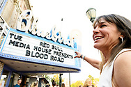 Rebecca Rusch under the marquee at the screening of Blood Road at the Bluebird Theater in Denver, CO, USA on 27 June, 2017.